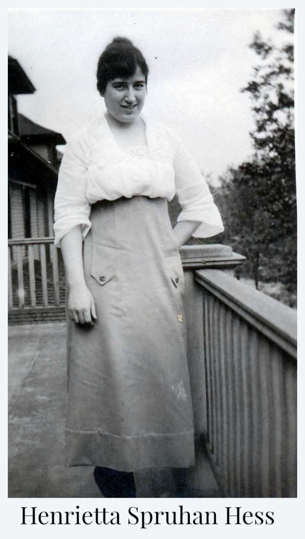 Henrietta Spruhan Hess standing on porch hand on hip