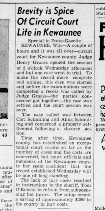 Alma and Carl Schmiling court hearing from 9 Nov. 1939 Green Bay Press.JPG