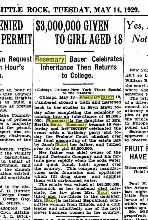 Arkansas Gazette May 14, 1929 Rosemary Baur