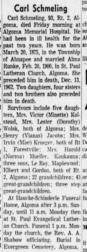 death of Carl Schmiling 18 Jan 1969 Green Bay Press