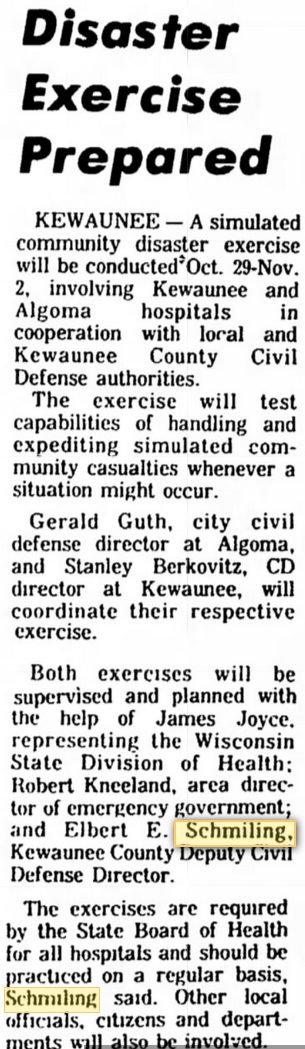 Elbert Emil Schmiling from 22 Oct 1973 Manitowoc Herald Times.png