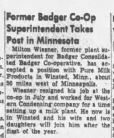 Milton Wiesner 3 Dec 1951 Post Crescent Appeton, WI