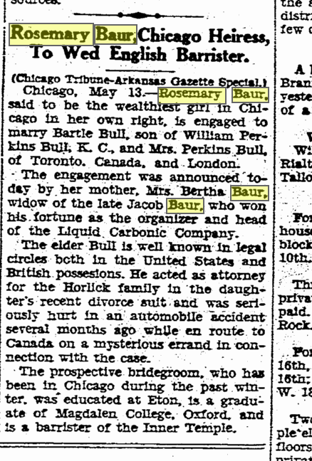 Rosemary Baur to Wed Bartle Bull from Arkasas Gazette May 14, 1931