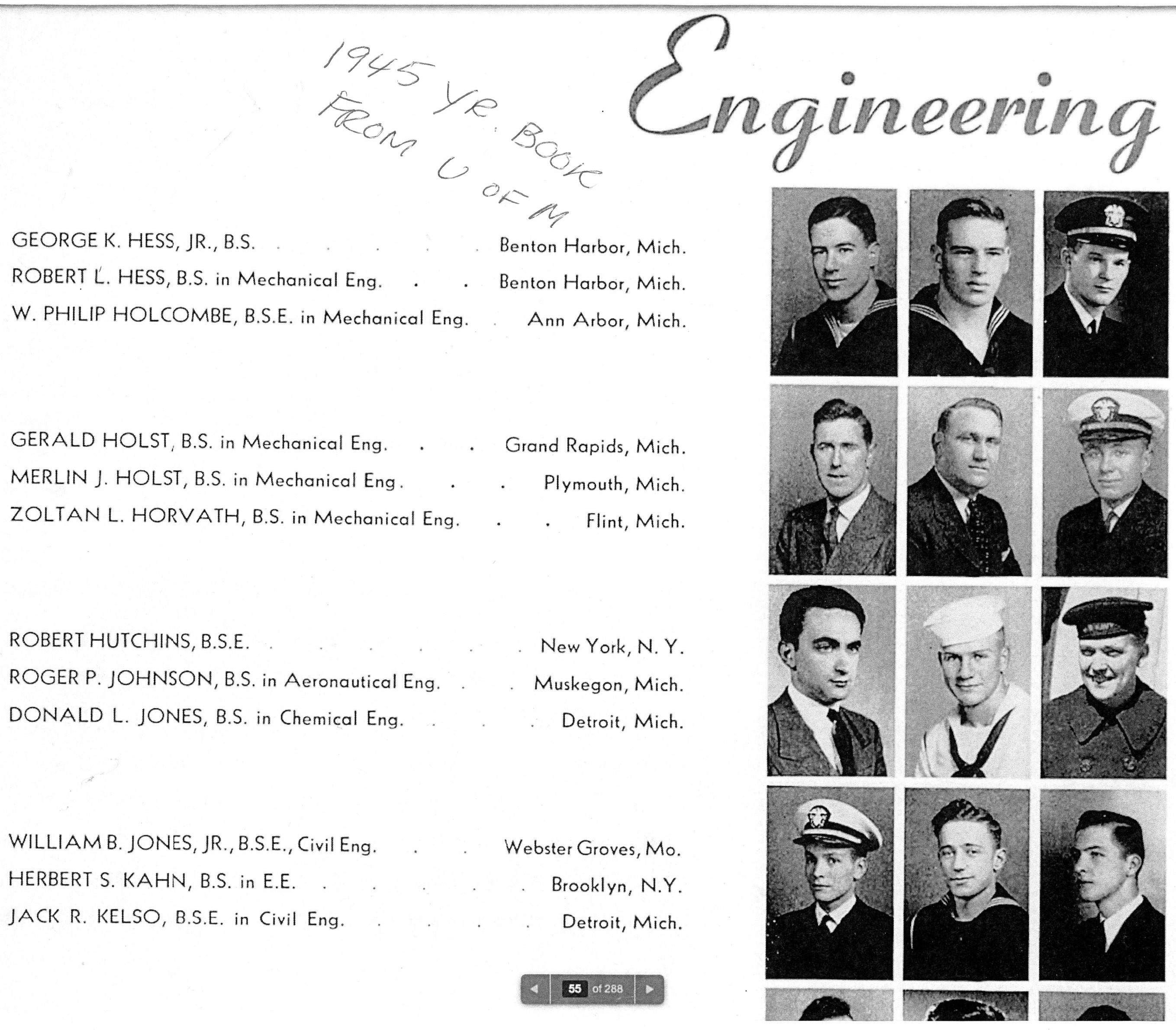 1945 UM yearbook George and Robert Hess