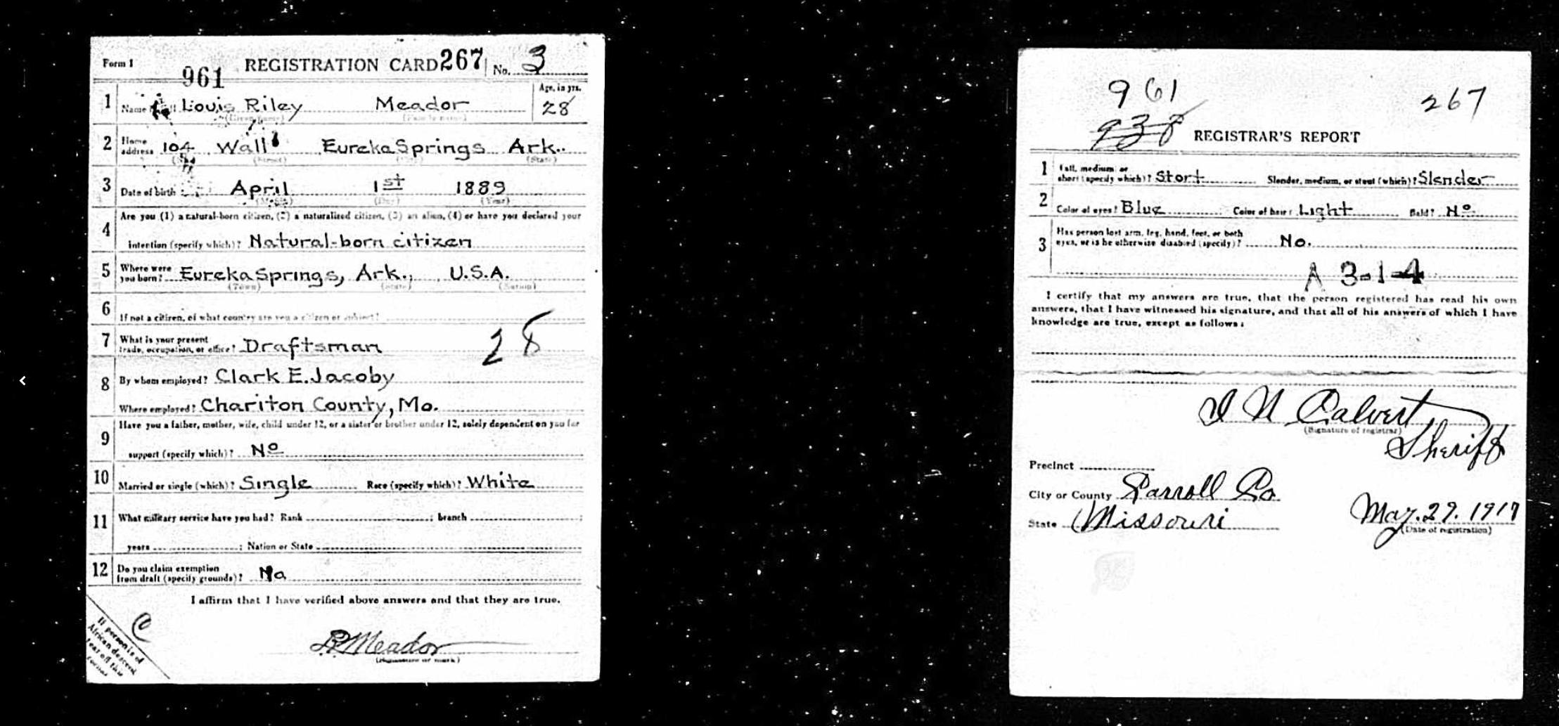 Louis Riley Meador WWI draft registration