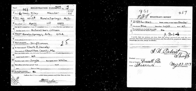 Louis Riley Meador WWI draft registration