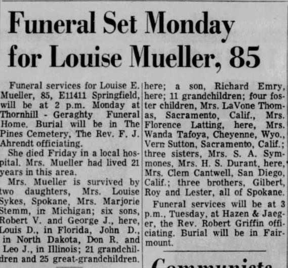 19 Oct 1969 death of Louise Spokane, WA
