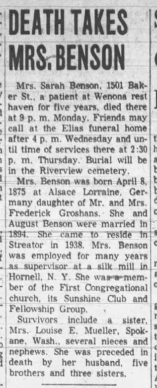 30 Mar 1965 death of Sarah Groshans Benson The Times, Streator, IL