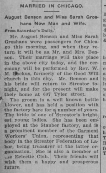 Groshans and Benson 31 Oct 1901 The Streator Free Press, IL