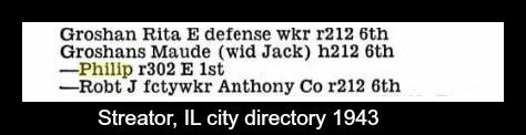 Groshans from 1943 Streator Illinois City Directory