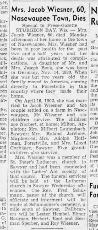 28 May 1940 Emma Bork death