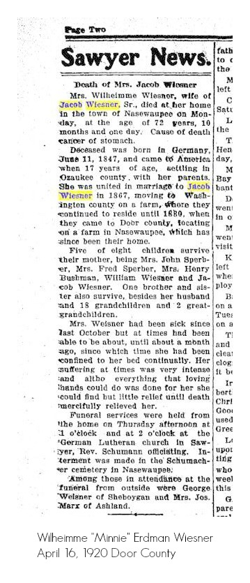 death of Wilheimme Wiesner door county advocate 04-16-1920