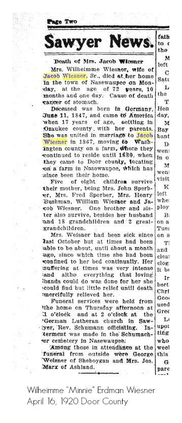 death of Wilheimme Wiesner door county advocate 04-16-1920