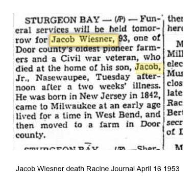 Jacob Wiesner death Racine Journal April 16 1953