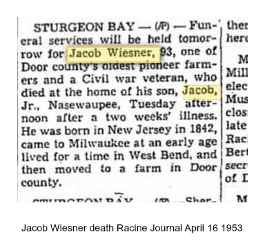 Jacob Wiesner death Racine Journal April 16 1953