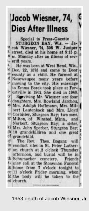 Jacob Wiesner, Jr. death 1953