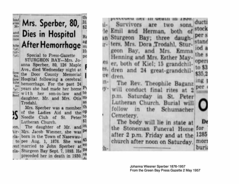 Mrs. Sperber death from Green Bay Gazette 2 May 1957