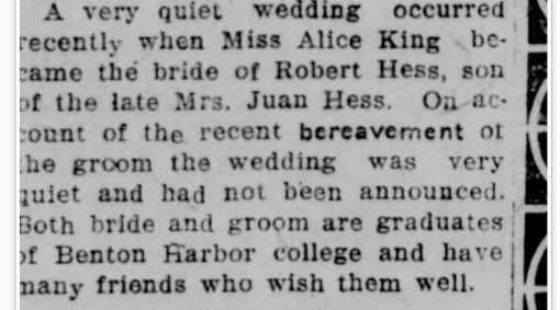 22 Oct. 1924 Robert Hess marries Alice King 20 years ago