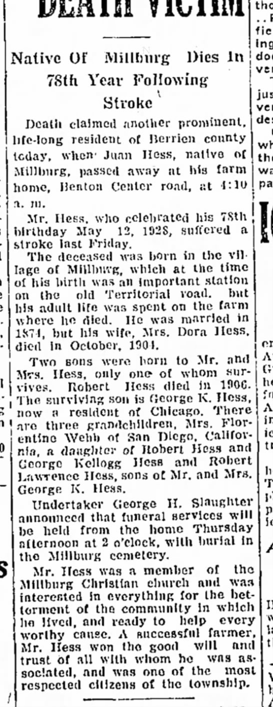 death of Juan Hess from Jan. 1929 obit
