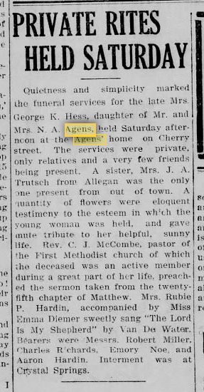 funeral of Jane Agens Hess from 10 March 1919 News Palladium