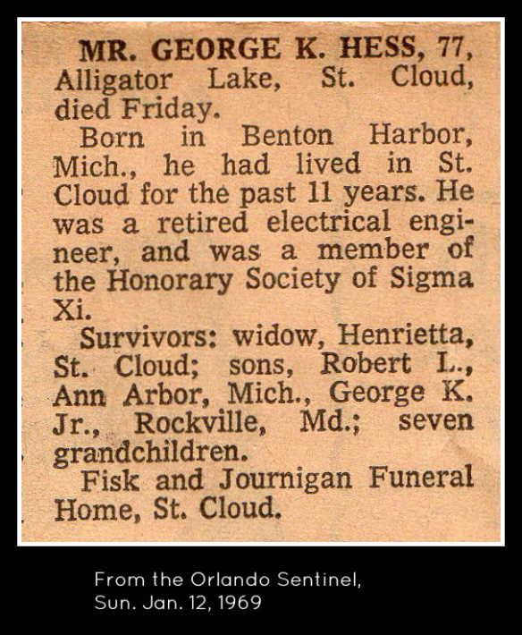 George K. Hess death notice