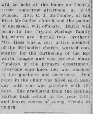 Mrs. Agens Hess dies from News Palladium 7 March 1919 part 2