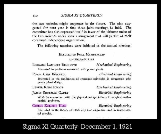 Sigma Xi Quarterly from Dec 1, 1921