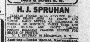 12 Dec 1909 Washington Post H.J. Spruhan