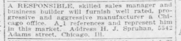 13 Feb 1916 H J Spruhan