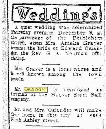Amelia Grayer weds Osiander