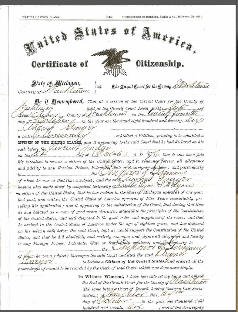August Grayer certificate of citizenship