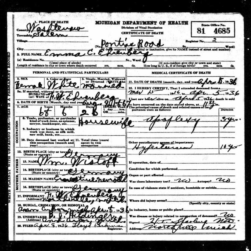 Emma Ehrenberg death certificate