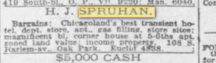 H J Spruhan 14 October 1928 Chicago Tribune for sale