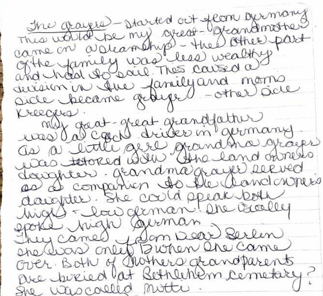 Linda handwritten notes on Grayer name