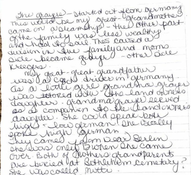 Linda handwritten notes on Grayer name