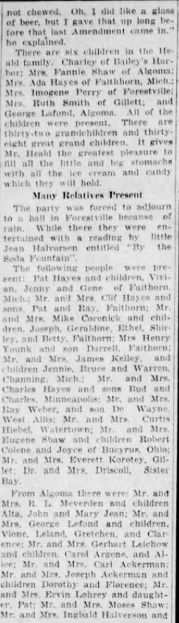 part 2 Eugene Heald reunion 20 August 1928 Green Bay Press