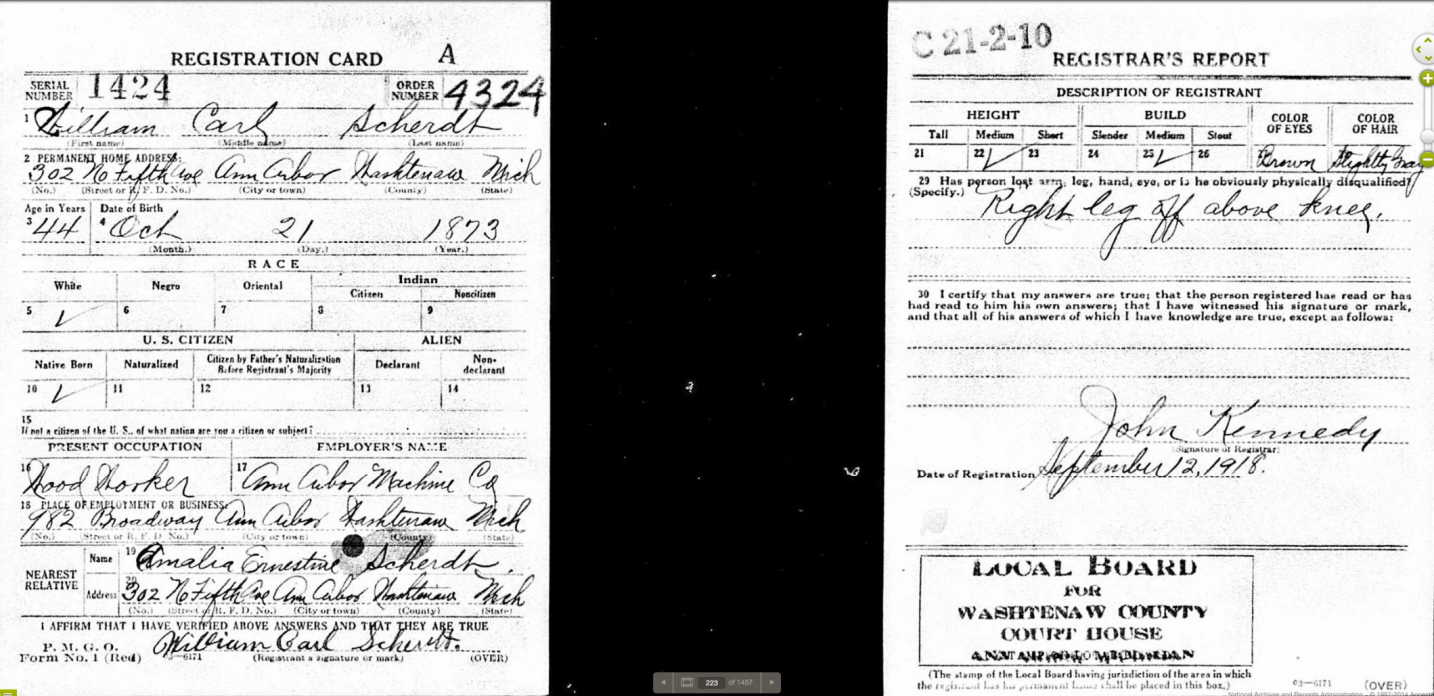 William carl Scherdt draft registration