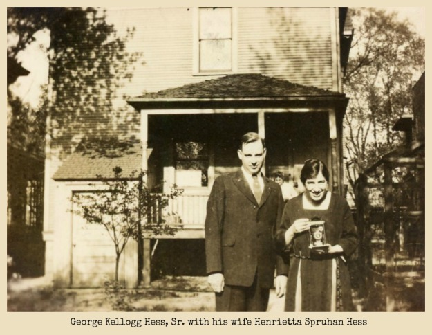 George Kellogg Hess Sr. and Henrietta in front of house with camera