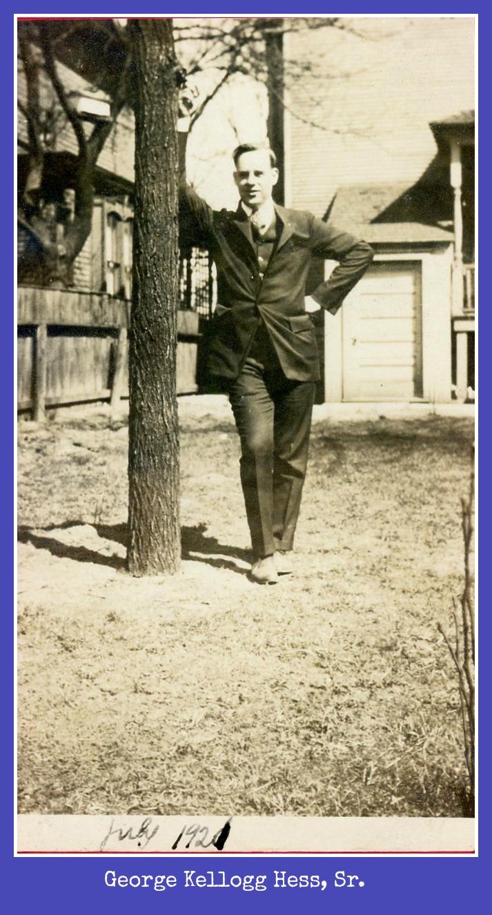George Kellogg Hess Sr. leaning on a tree