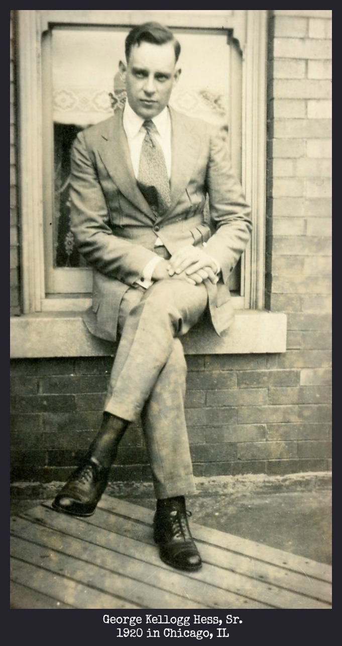 George Kellogg Hess, Sr. sitting on window sill in Chicago, IL