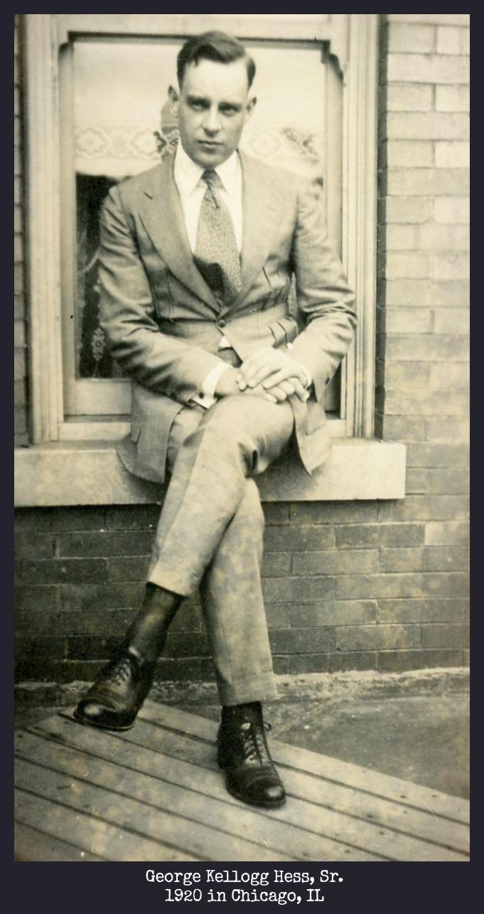 George Kellogg Hess, Sr. sitting on window sill in Chicago, IL