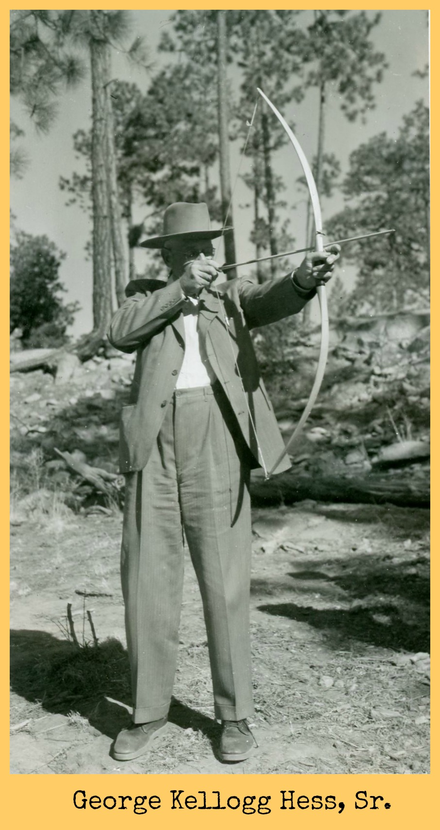 George Kellogg Hess Sr. with bow and arrow