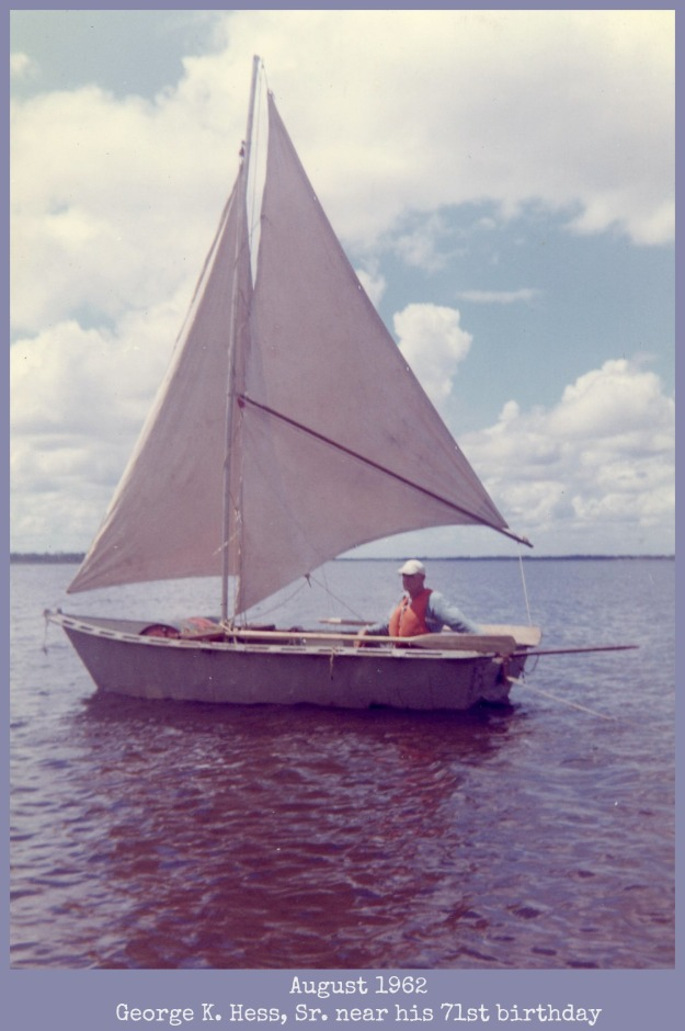 Grandfather Hess in sailboat 1962