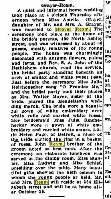 Grayer Ream wedding september 27, 1912 AA News