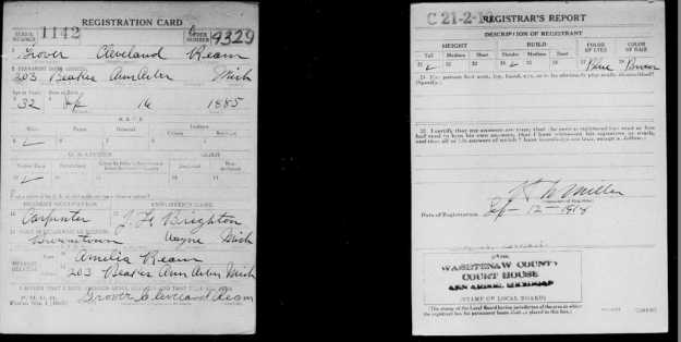 Grover Ream WW1 draft card from 1917-1918