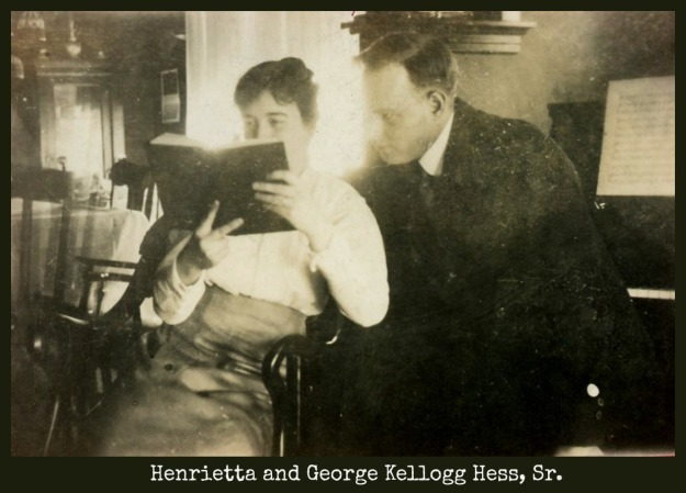 Henrietta and George Kellogg Hess Sr. reading by piano