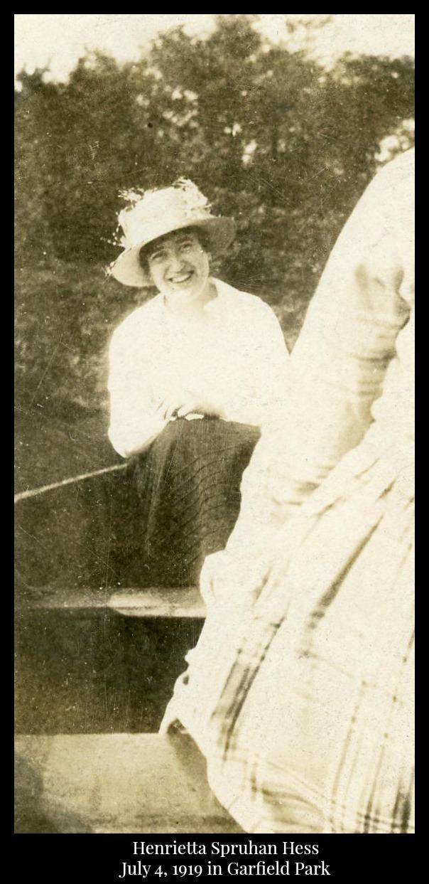 Henrietta Spruhan Hess at Garfield park 1919