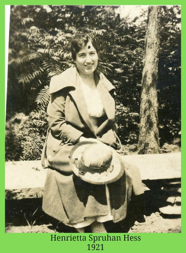 Henrietta Spruhan Hess holding hat in her lap 1921