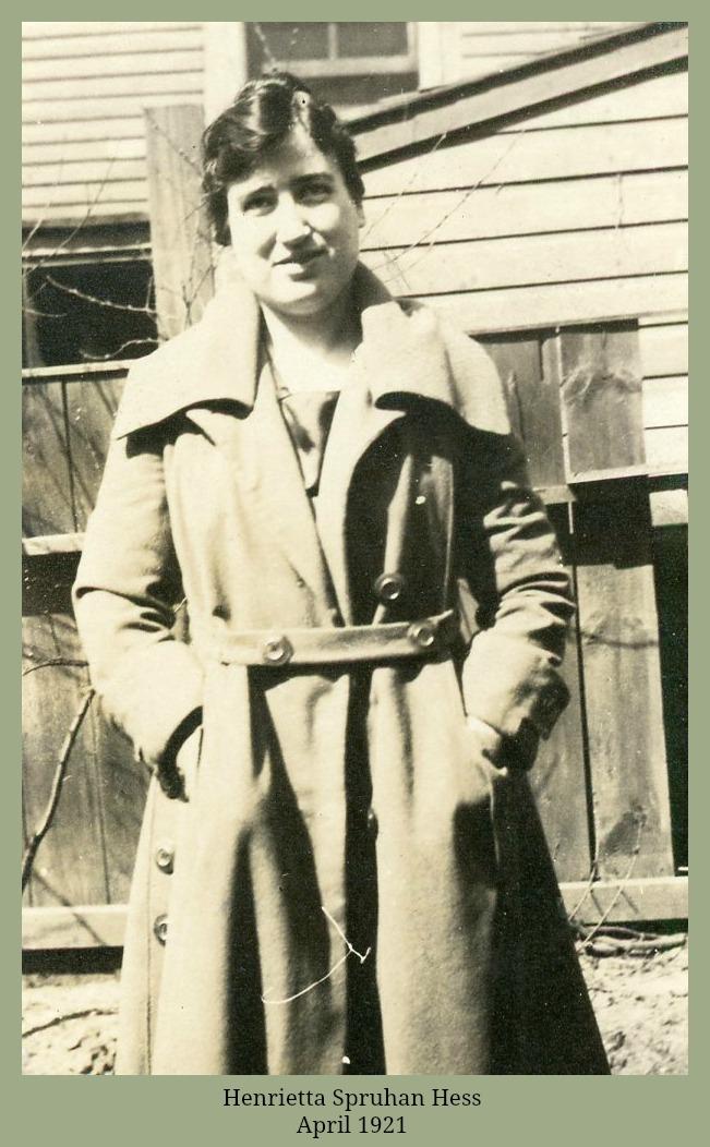 Henrietta Spruhan Hess in coat April 1921