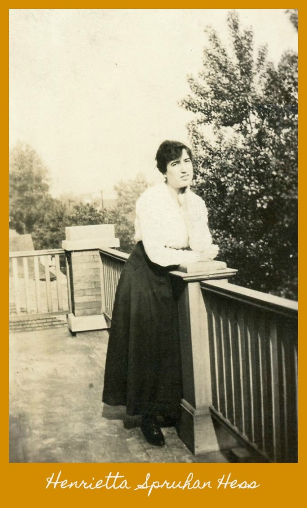Henrietta Spruhan Hess leaning on porch post